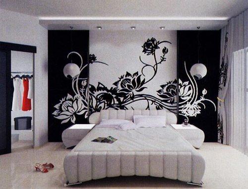 Фото «женской» черно-белой спальни