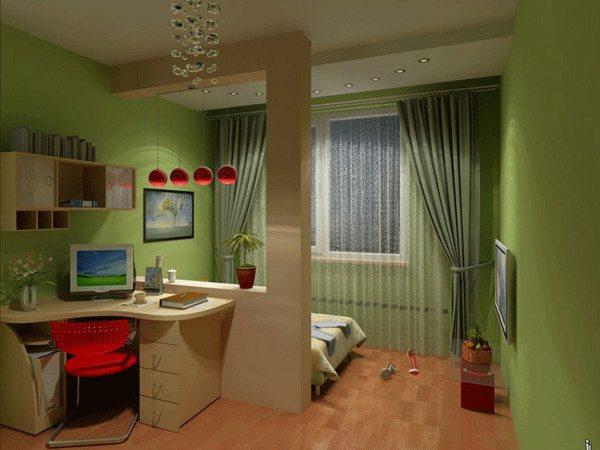 Фото зонирования спальни и кабинета
