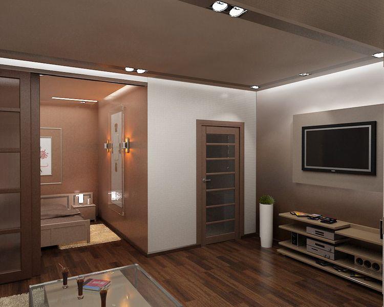 Дизайн гостиной совмещенной с спальней 18 кв.м