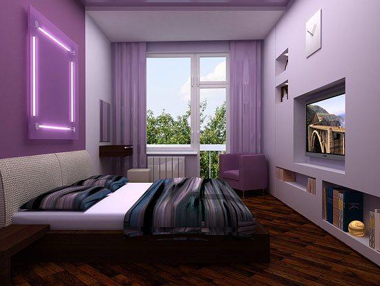 Гармонично обустроенная спальня с нишами в стене.