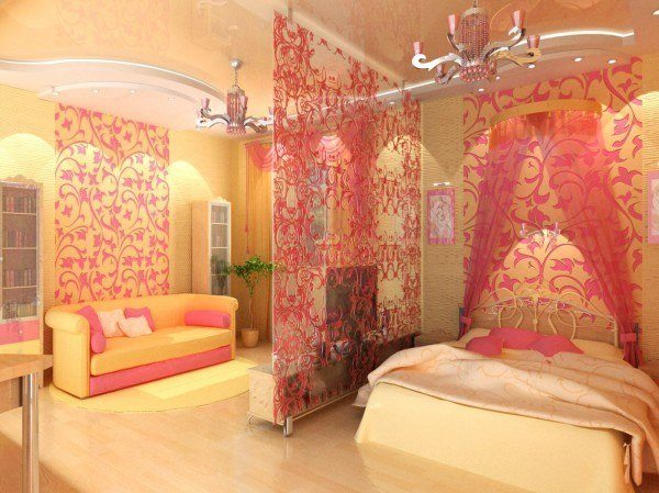 Гламурная спальня-гостиная для девушки – основной акцент на стенах и перегородке