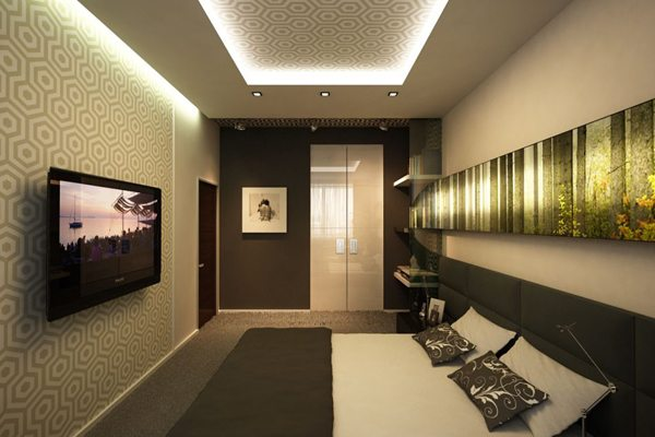 Глянцевые поверхности помогают изменить форму комнаты