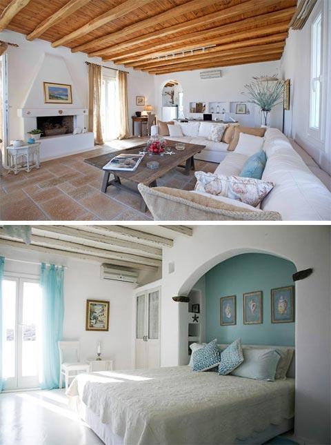 Греческие мотивы в оформлении интерьера спальни и гостиной