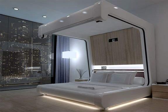 Хай-тек в интерьере спальни – это стиль экстравагантности: все продуманно и органично