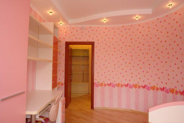 Идея оформления потолка с применением ГКЛ в детской спальне.