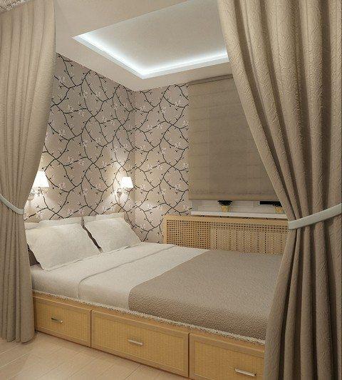 Интерьер длинной узкой спальни с расположением кровати поперек и проходом с одной стороны – цена такой планировки, экономия ценного пространства.