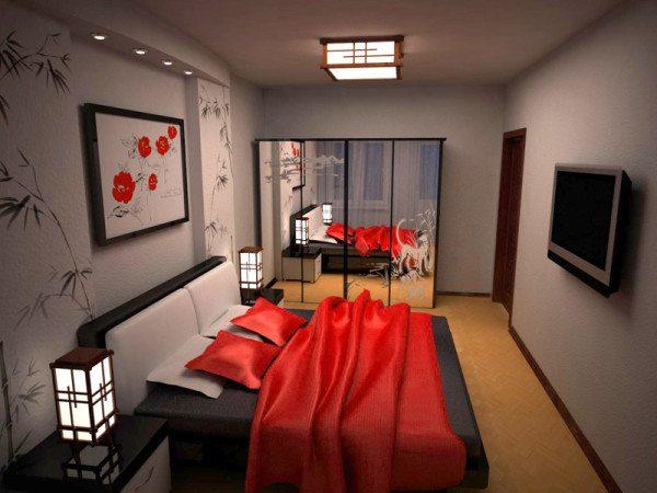 Интерьер спальни 15 кв м в восточном стиле, где красный цвет использован как вспомогательный, а не как основной.
