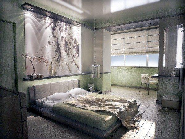 Интерьер спальни с балконом в оригинальном стиле