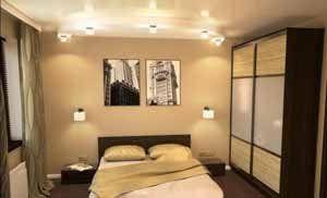 Интерьер в спальне 12 кв м не предполагает установку сколько-нибудь массивных шкафов (фото «С»)