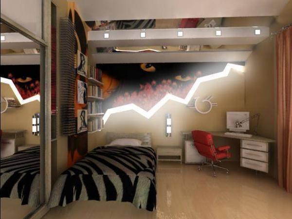 Интересный интерьер спальни юноши