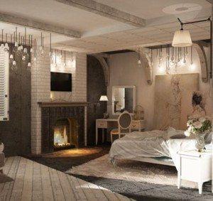 Кирпичная кладка камина повторяется в декоре потолка и арок над кроватью