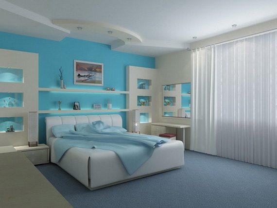 Классический дизайн спальни в голубом цвете всегда в моде.