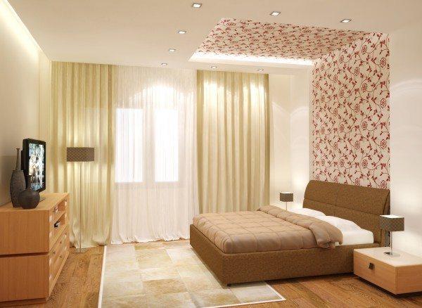 Комбинирование обоев в спальне и дизайн, обособляющий одну стену или ее участок, обязательно привлечет внимание.