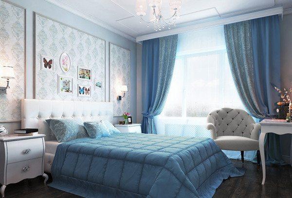 Комфортная спальня в светло-голубых тонах
