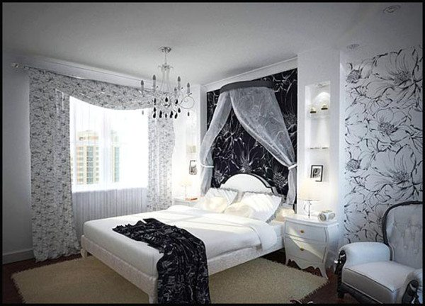Комната отдыха в черно-белых тонах