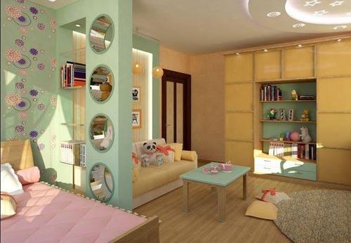 Комната, разграниченная при помощи необычной гипсокартонной перегородки, которая плавно переходит в нишу, где расположено спальное место для ребенка.