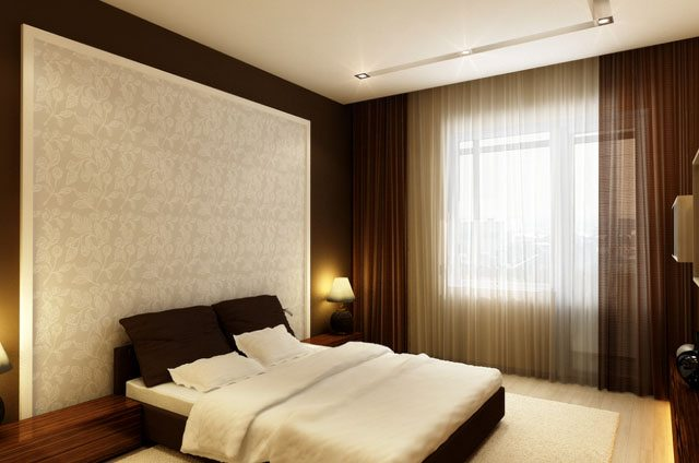 Покраска дизайн стен в спальне