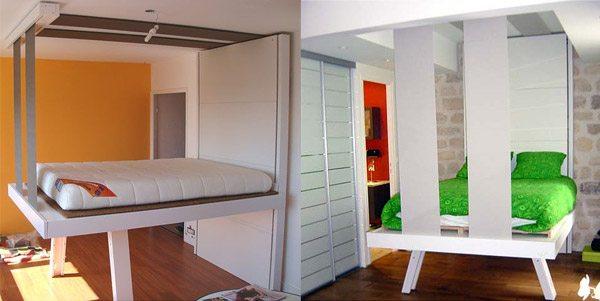 Контроль свободного пространства посредством изменяемого расположения кровати
