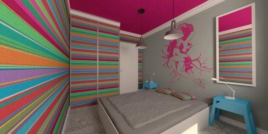 Креативная спальня в стиле минимализма с акцентом на стены в яркую контрастную полоску – динамичный узор.