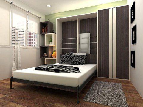 Кровать - трансформер позволяет превратить маленькую спальню в уютную комнату для приема гостей.