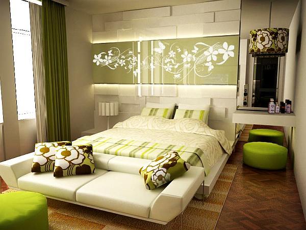 Кровать без ножек, расположенная непосредственно на полу, поможет комнате выглядеть больше, нежели есть на самом деле – оригинальная идея для маленькой спальни.