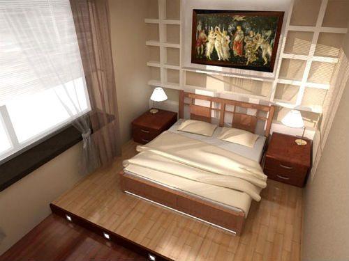 Кровать на подиуме – оригинальное исполнение: дизайн в приятных светлых тонах