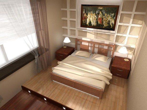 Кровать подиум в маленькой спальне с фронтальной подсветкой