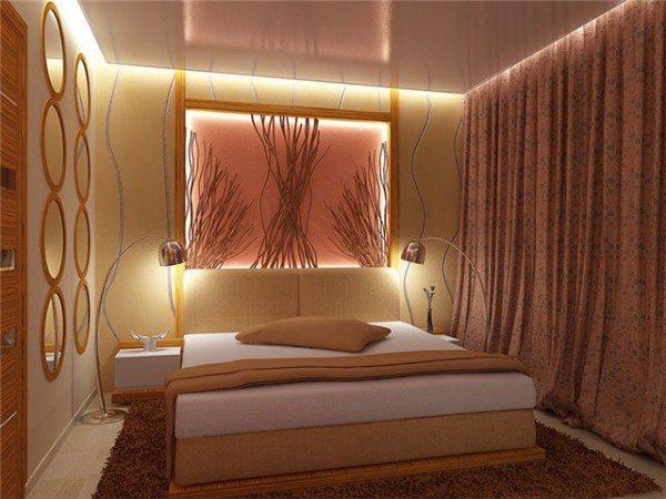 Маленькая спальня с прикроватными тумбочками