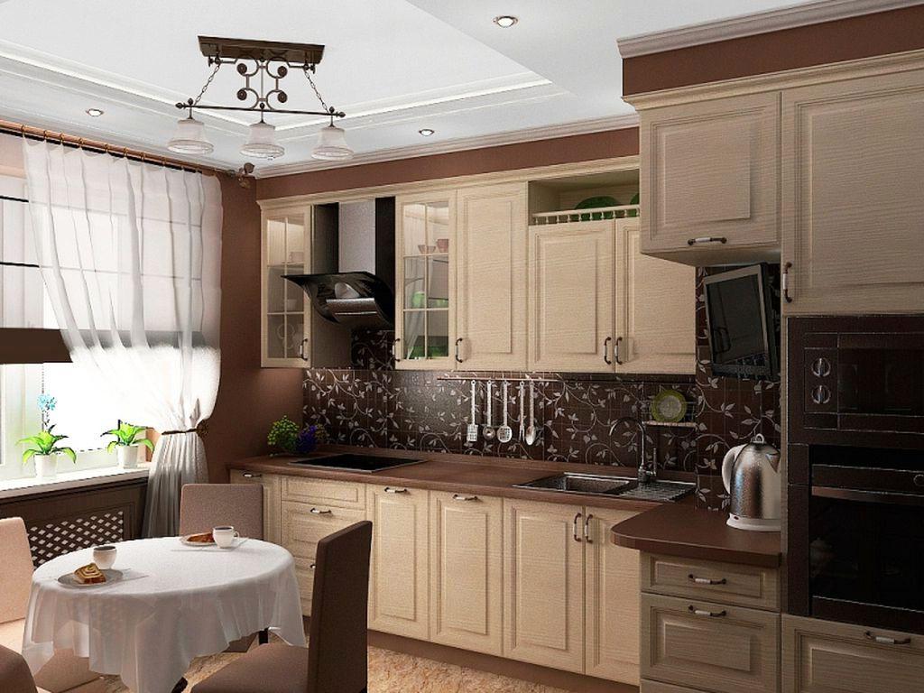 Кухня в бежево-коричневом цвете