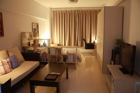Мебель нейтральных оттенков в оформлении спальни-гостиной