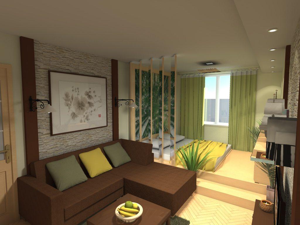 Дизайн гостиной спальни 19 кв.м фото