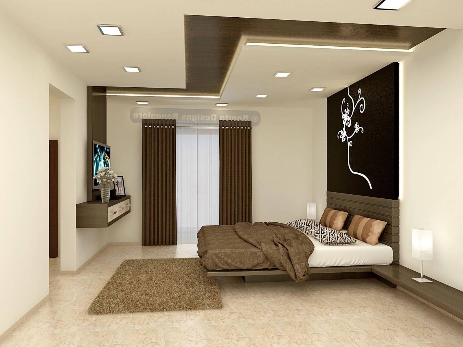 красивая спальня с гипсокартонным потолком