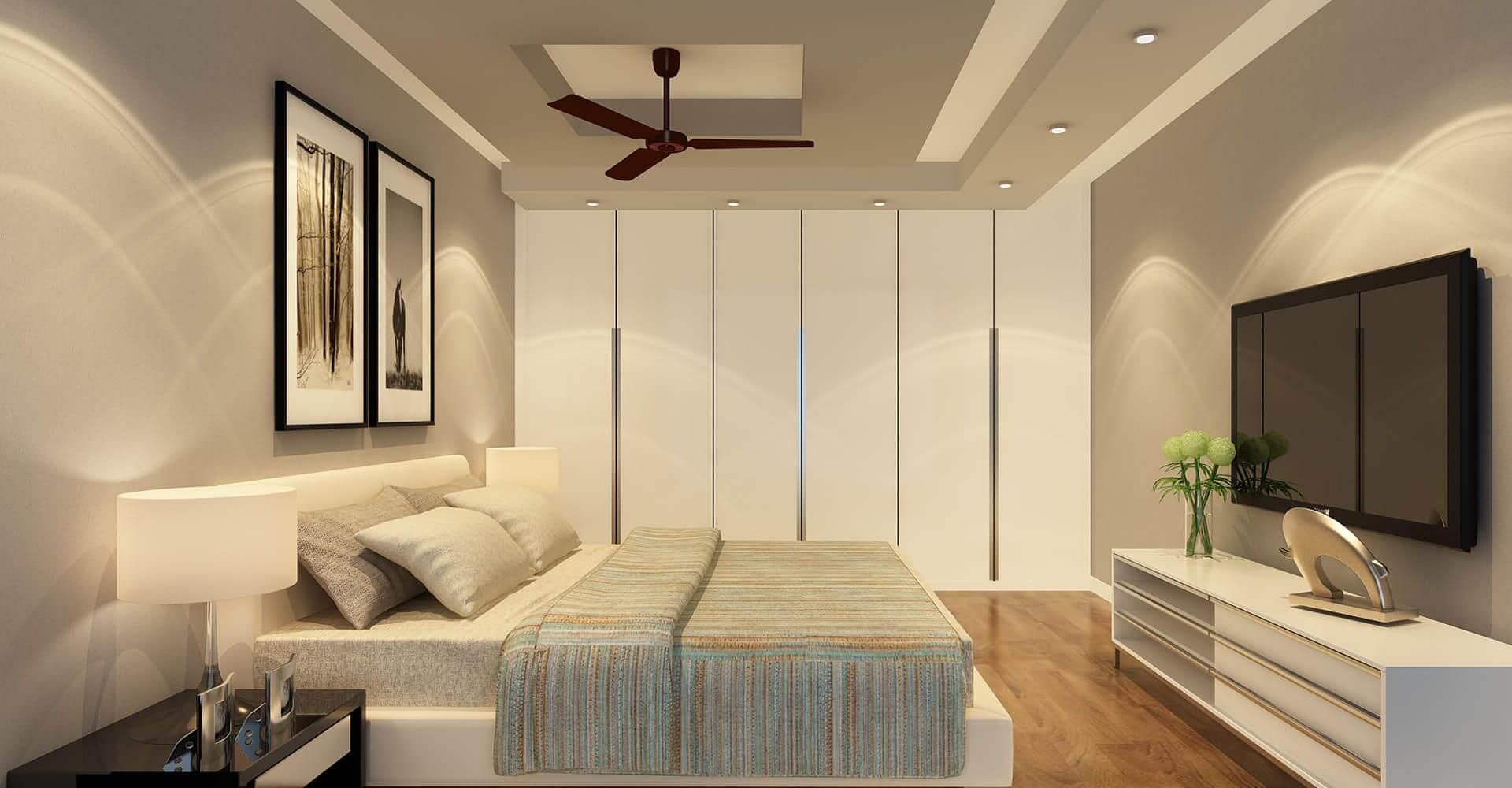 квадрат из гкл на потолке в спальне в стиле минимализм