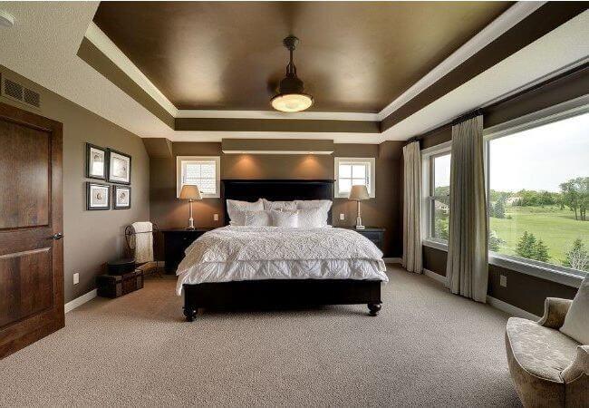 многоуровневый потолок в спальне по перимитру