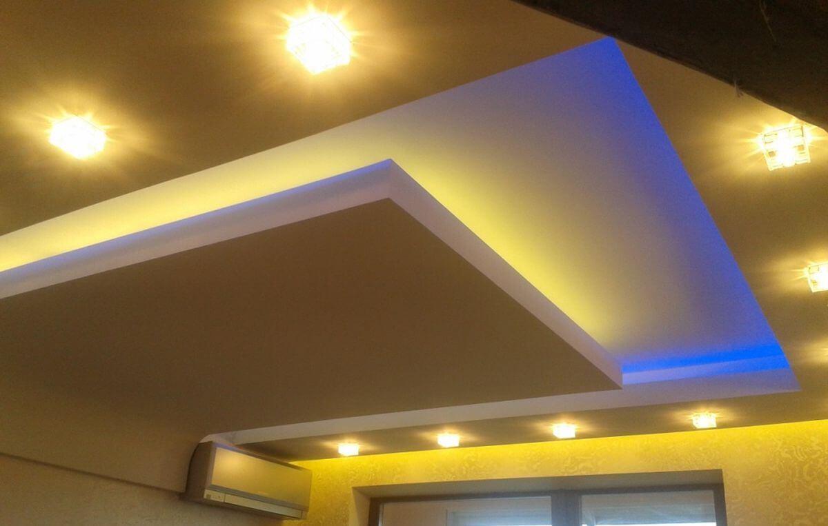 красивая идея на потолке в спальне из гкл