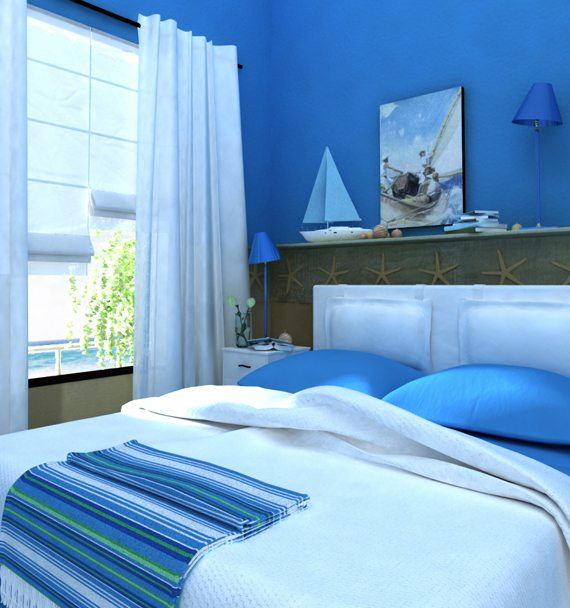 Морская тематика для синей спальни