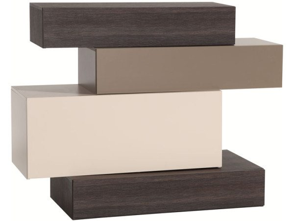 На фото - конструкция для стиля хай-тек оригинальной формы: широкий ящик - откидной, а узкие – выдвижные.