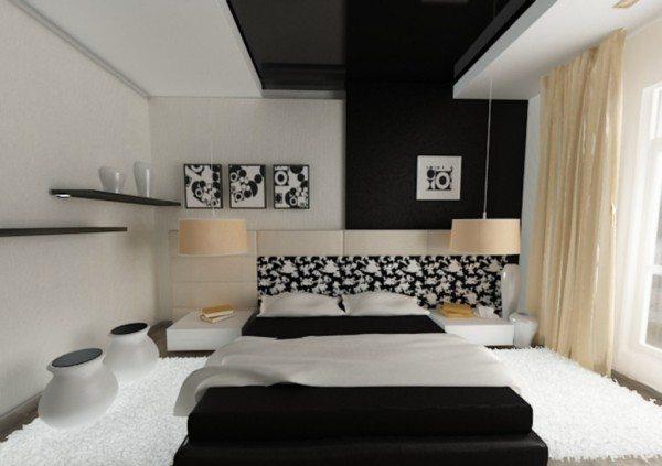 На фото - потолок словно отражает пол и вместе с частью стены служит главной изюминкой интерьера