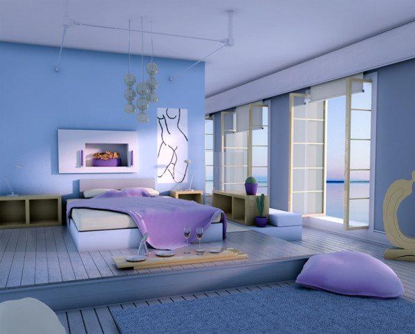 На фото – голубая спальня на подиуме