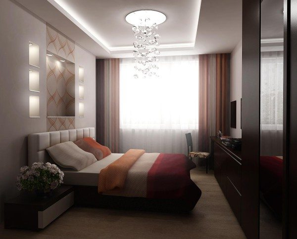 На фото – комната прямоугольной планировки
