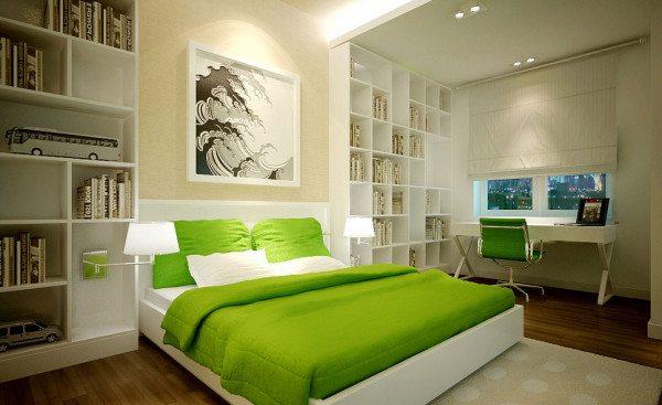На фото – зоны: спальная и кабинет