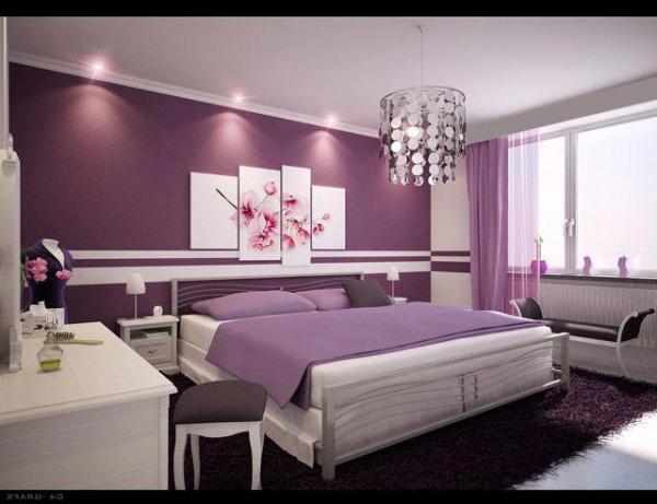 На фото демонстрируется лавандовая спальня - настраивает на позитивный лад и отдых.
