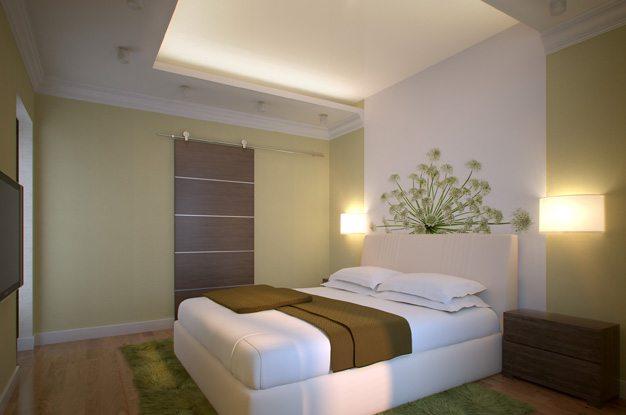 На фото изображена гипсокартонная ниша с подсветкой, расположенная по периметру спальни.