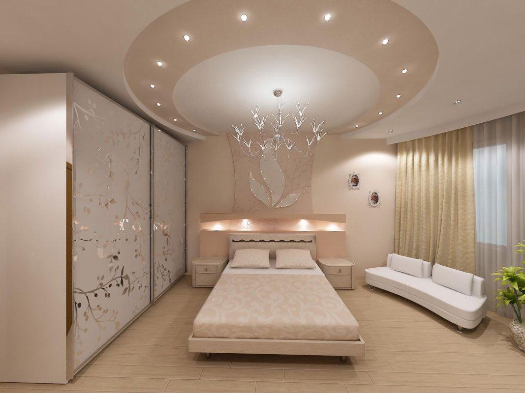 На фото изображена конструкция с закругленным элементом, расположенным почти посередине пространства и плавно переходящим на стену из гипсокартона, которая находится за кроватью.