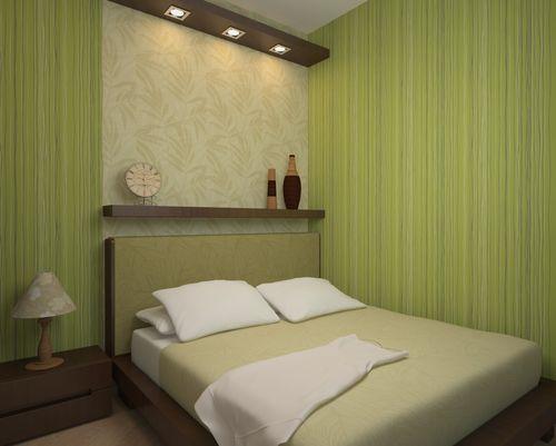 На фото маленькая спальня в оливковых тонах.