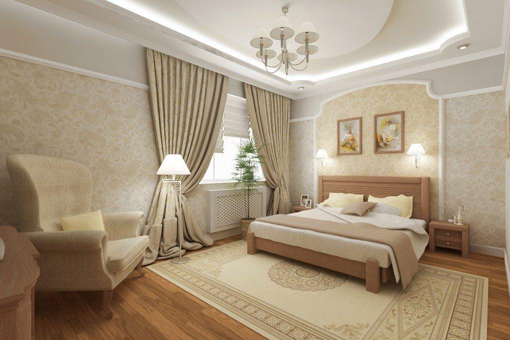 На фото показана классическая спальня в светло-бежевых оттенках