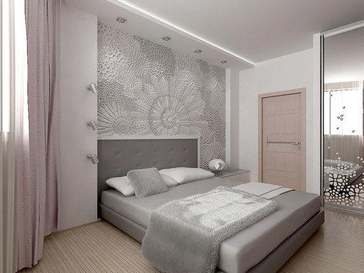 На фото серые обои в интерьере спальни в сочетании с окрашенными стенами.