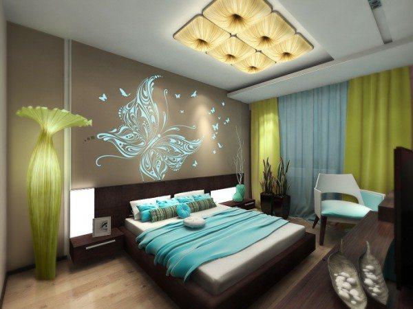 На фото спальня в стиле хай-тек: интересный интерьер