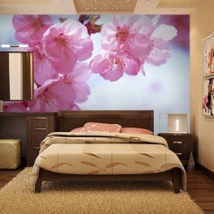 На фото вы видите стильный дизайн с яркими фотообоями орхидеи.