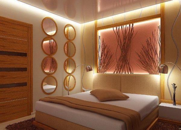 На фотопоказан вариант решения освещения в спальне.